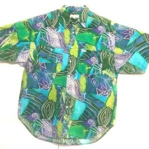 Guess Mens Vintage Abstract Button Front Shirt